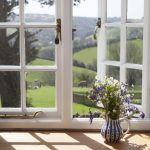 Hollyhock window view